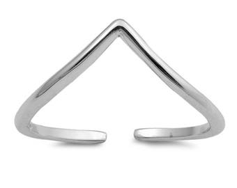 Sterling Silver Thin Band Chevron Adjustable Midi Above The Knuckle Toe Ring