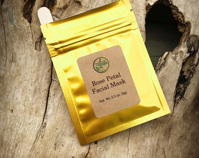 Rose Facial Mask - Herbal Facial Mask - Natural Skincare - Face Mask with Rose - Single use facial - Organic Clay Mask - Touch of Herbs