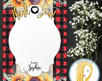 Cowgirl Birthday Party Thank You Card, Cowgirl Thank You Card, Sunflower Thank You Card, Flannel Plaid Boots, Printed or Printable DIY Cards