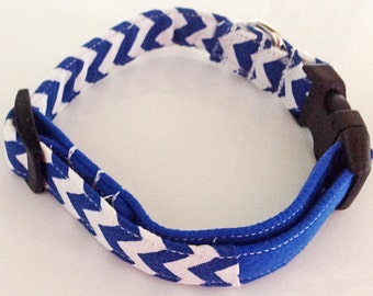Blue Chevron Collar for Dogs and Cats