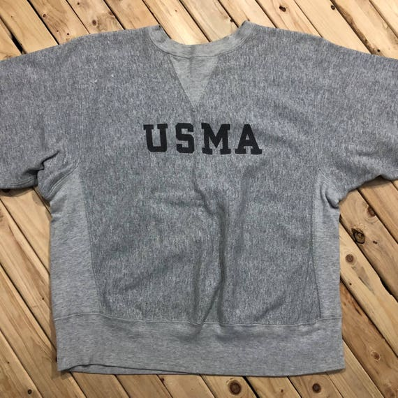 USMA Champion Reverse Weave Crewneck West Point Sweatshirt Warm Up Athletic Made in USA Excellent Condition