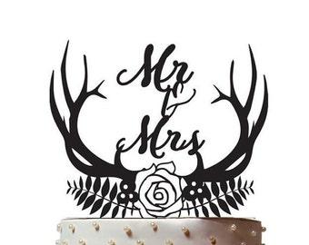 Wedding Cake Topper/Antlers/Laurel/Mr and Mrs/Cake Decor/Top for Cake/Cake Decoration/Hunter/buck