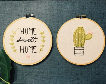 Hand embroidered cactus
