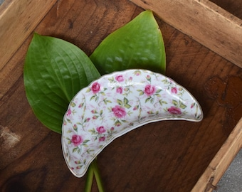 Lefton Pink Rose Chintz China Bone Dish. Pretty Handpainted Vintage Tableware for Spring.  Perfect for Small Soaps, Trinkets, Jewelry.