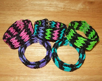 Rainbow Loom All Around Cuff Rubber Band Bracelet - Triple Single Fancy Fishtail - Black with 3 Different Color Choices