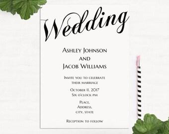 Simple wedding invitation template Minimalist wedding invitation Classic wedding invitation printable Black and white wedding invitation T52