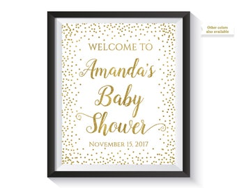 Welcome To Baby Shower Sign, Personalized Baby Shower Welcome Sign, Gold confetti Baby Shower Decor, Custom, Decorations, Printable Digital