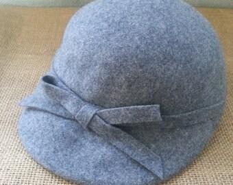 100% Wool Ladies Fedora Glenover Hat Henry Pollak Gray Wool Ladies Cap 1950s Style