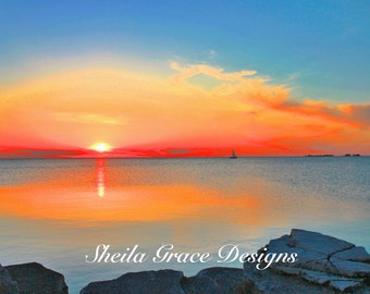 Door County Sunset on the Water, Door County Photography, Sister Bay Marina, Sister Bay Sunset, Beach Sunset Photography,  Shoreline Sunset,