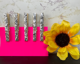 Set of 5 Glitter Clothespins - Silver Clothes Pin - 3'' Clothes Pin - Silver Glitter Covered - Iridescent Sparkly Clothespins - Shabby Chic