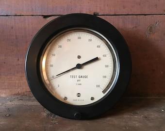 Industrial gauge / Mid Century pressure gauge / Industrial decor / vintage gauge