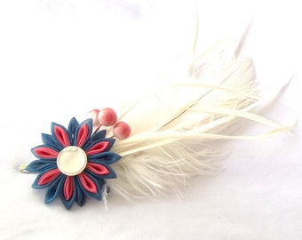 Bold Colors Kanzashi Flower Fascinator with Ivory Feathers Hair Clip Statement Fiber Art