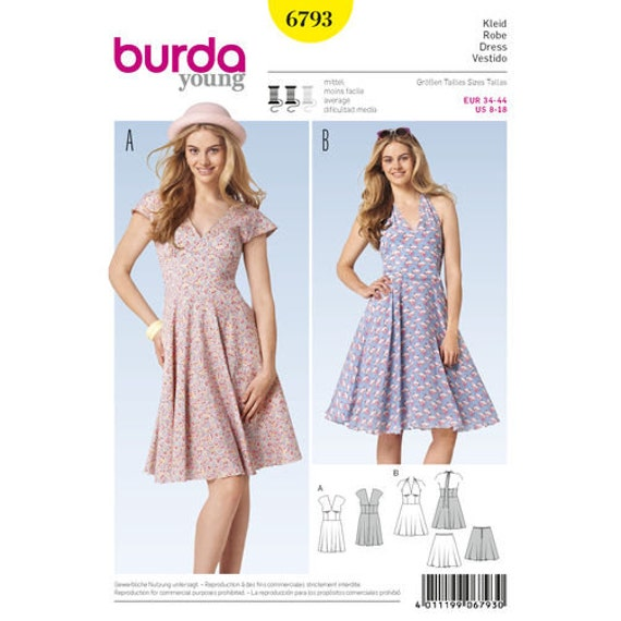 Sewing Pattern for Misses Dresses Burda Style 6793 Young