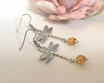 Amber Dragonfly Dangle Earrings Gemstone Earrings