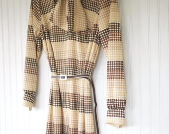 Vintage Size L M Brown Polka Dots Belted Long Sleeve Tie Neck Dress - Large / Medium - New With Tags from 1979 70s 80s