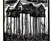 Stilt Houses linocut...