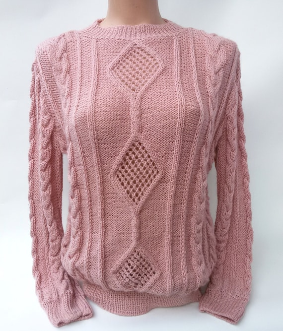 Frau Zopfmuster Rosa Kleidung Pullover Grobstrick weiche warme