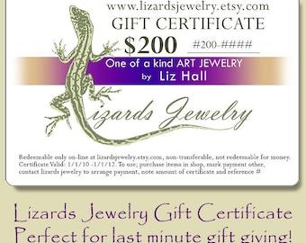 200 Dollar Gift Certificate Lizards Jewelry