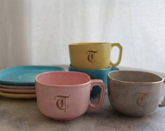 Vintage Old English Monogram 'T', Square Ceramic Teacup & Saucer Set, Multicolor