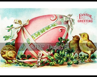 Instant Digital Download, Antique Edwardian Era Graphic, Pastel Easter Greeting Postcard, Large Decorated Egg, Chicks, Printable, Clovers