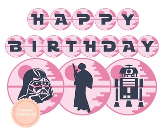 INSTANT DOWNLOAD Star Wars Girls Happy Birthday Banner (Star Wars party, Princess Leia, Yoda, Pink, Printable Happy Birthday Banner)