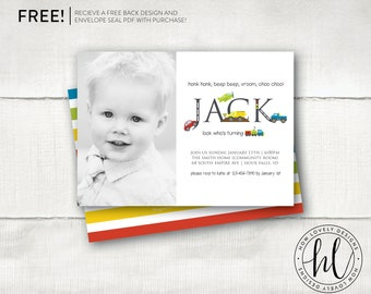 Transportation Invitation With Picture | Car Birthday Invitation | Truck Party Invitation | Boy Birthday Invite | Automobile Invite