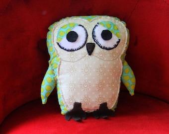 "Fabric soft sculpture Olivine the Owl dimensions 8"" x 6""x 2"""