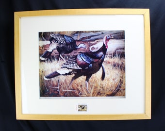 Vintage NWTF Wyoming Conservation Stamp And Print by Dave Wade Turkey's Limited Number 65/250