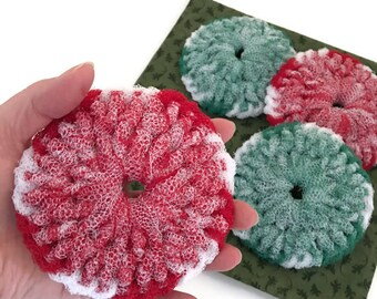 Christmas Dish Scrubbies,You Choose 2 Through 8 Peppermint Swirl Scrubbies,Crochet,Dish Scrubbies,Housewarming,Kitchen Decor,Gift for Her