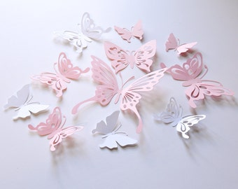16 Baby Pink Paper Butterflies, Pink and White Butterfly Wall Stickers, Butterfly Decals, Butterfly Room Decoration, Butterfly Decals