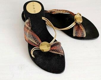 Summer Crossover Slides, Open Toe Vintage 80's Flops, Boho Slip On Sandals, Size 6.5, Flat Summer Slippers, Strappy Sandals, Womens Shoes