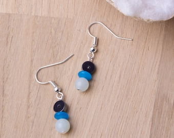 Gemstone earrings -  Amazonite and hematite with blue Murano glass beads | Amazonite jewelry | Hematite earrings | Blue dangle earrings