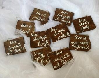 Rustic wedding decor-Love is patient wedding signs (set of 10)-1 Corinthians 13 signs-Wedding signs-Wooden wedding signs-Rustic wedding