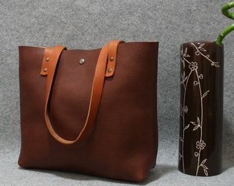Leather tote bag ,handmade leather bag ,tote bag ,large leather bag,dark brown leather bag,borsa
