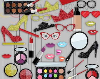 Beauty Makeup Party Photo Booth Props, Compacts, Lipsticks, Makeup artist, Beauty Party Photo Props