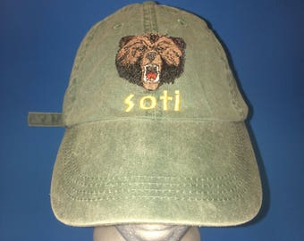 Vintage Soti Grizzly Bear Strapback Hat Adjustable 1990s