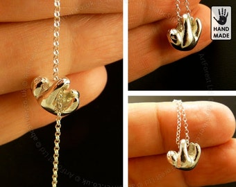 Small Sloth Sterling Silver  Handmade .925 Necklace in a gift box