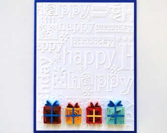 Quilled Birthday Card, Colorful Quilled Gift Boxes, Birthday Gifts Card, Handmade Birthday Greeting Card, Embossed Happy Birthday Card