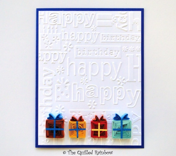 Quilled birthday card colorful quilled gift boxes birthday m4hsunfo