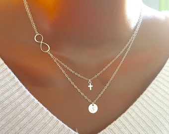 Layered Infinity tiny cross and disc necklace, All sterling silver, personalized letter, personalized gift