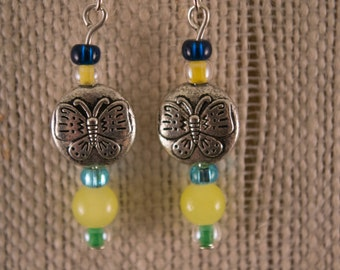 Blue and Yellow Glass Beads with Antiqued Silver Round Butterfly Bead Earrings