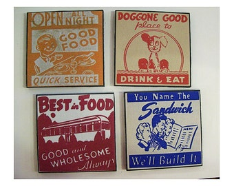 retro diner coaster set 1950s Route 66 vintage menu matchbook art rockabilly kitsch