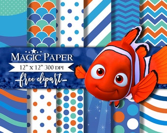 Finding Nemo Papel Digital Scrapbook, Digital Papers, Pattern
