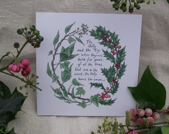 The Holly and the Ivy Christmas wreath greetings card