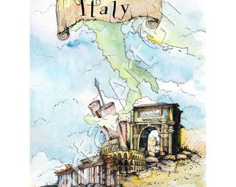 Italy, graphic, print, ink print, home decor, print wall art, illustration, nurcery painting, countries, coliseum, traveling