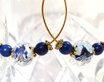 Gold Hoop Earrings with Blue and White Faceted Glass Round Beads