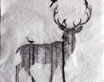 6 reindeer and birds paper napkins