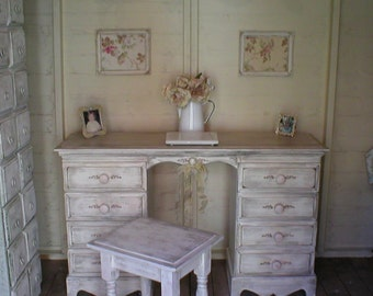 Sold Sold - - - shabby romantic distressed aged desk and stool workstation