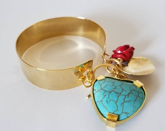 Bracelet in bronze foil with a heart of turquoise