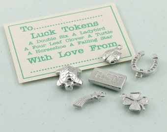 Personalised Pewter Good Luck Charm Set, Good Luck Keepsake Gift, Gift of Luck, Gap year Lucky Charm Present.